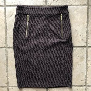 Michael Kors Brown Zip Pencil Skirt